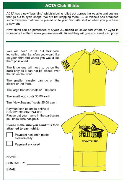 Auckland Cycle Touring Association Shirt Order